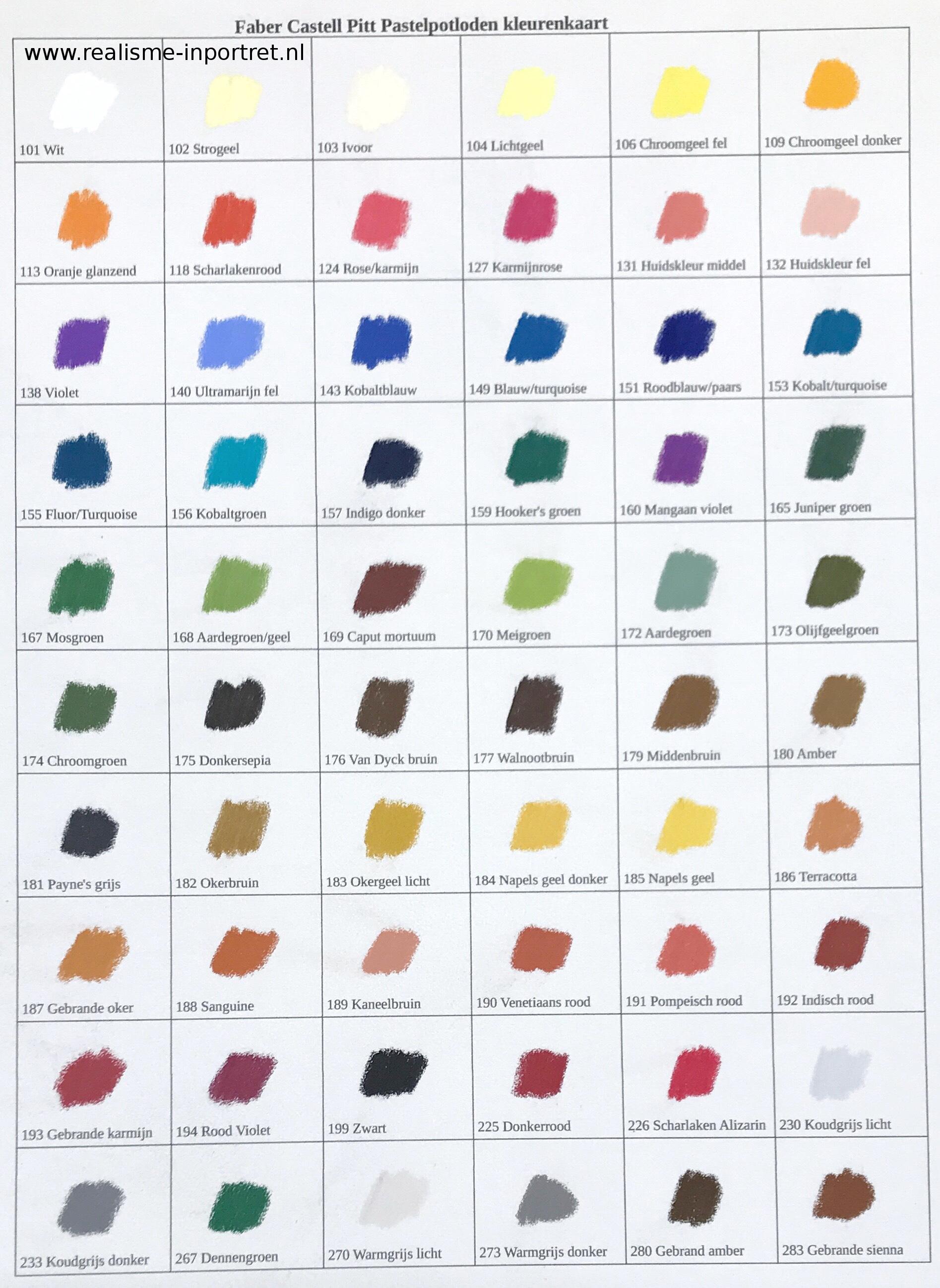 Faber Castell kleurenkaart