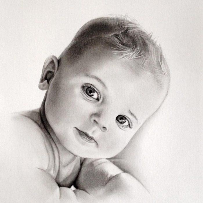 baby portret grafiet potlood
