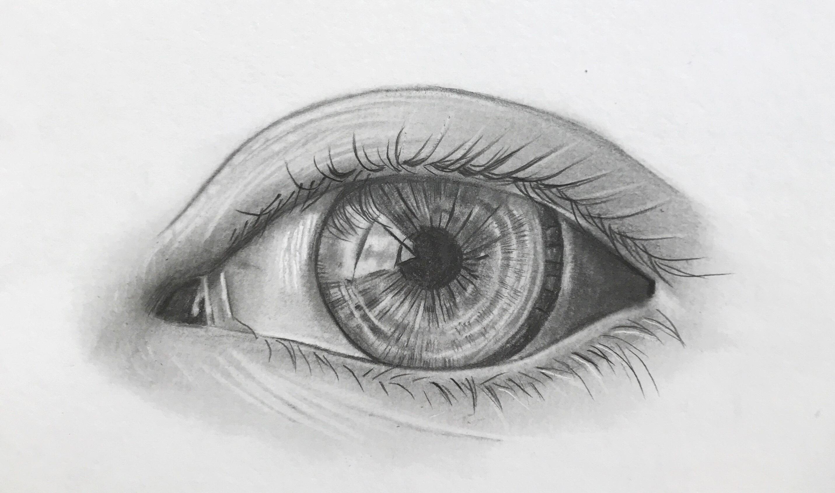 realisme in portret lespakket oog tekenen in grafiet